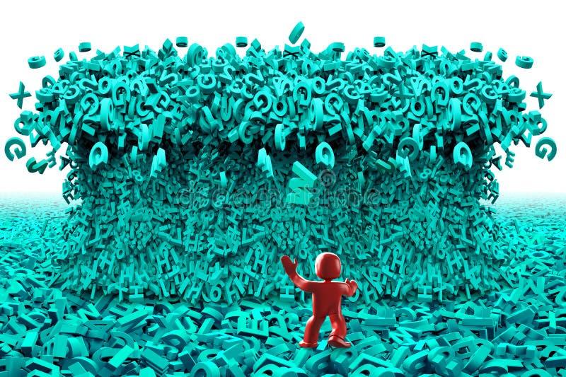 Grandi dati Onda enorme di tsunami dei caratteri uomo 3d illustrazione 3D illustrazione vettoriale