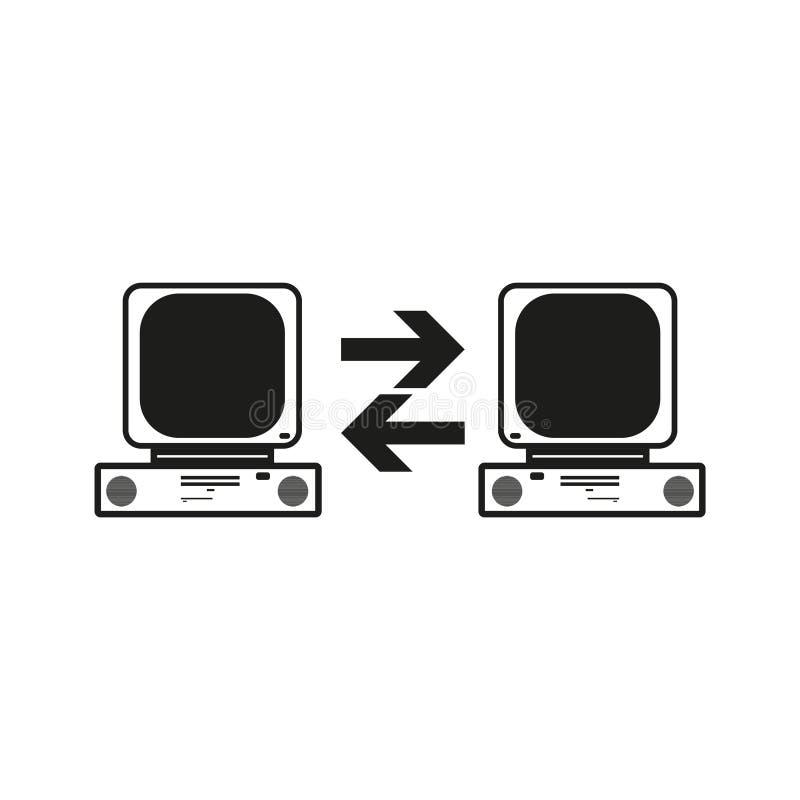 Grandi della comunicazione dei dati fra due computer Vector l'icona nera su fondo bianco illustrazione di stock