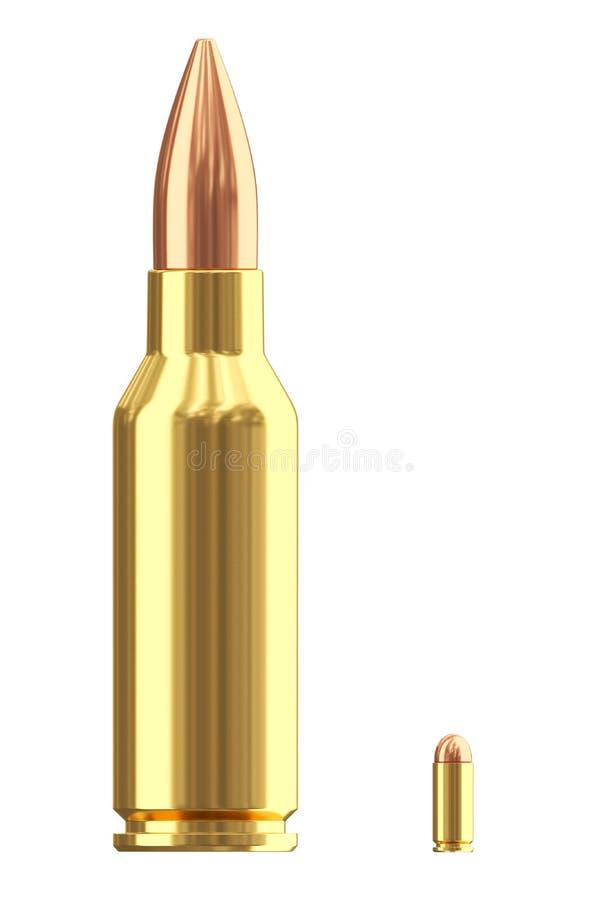 Grandi e piccole cartucce delle munizioni su bianco royalty illustrazione gratis