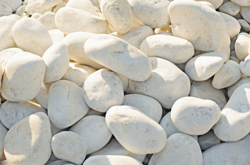 Grandi e piccole pietre bianche delle dimensioni differenti, illuminate dal sole Spiaggia, montagne Autunno illustrazione vettoriale