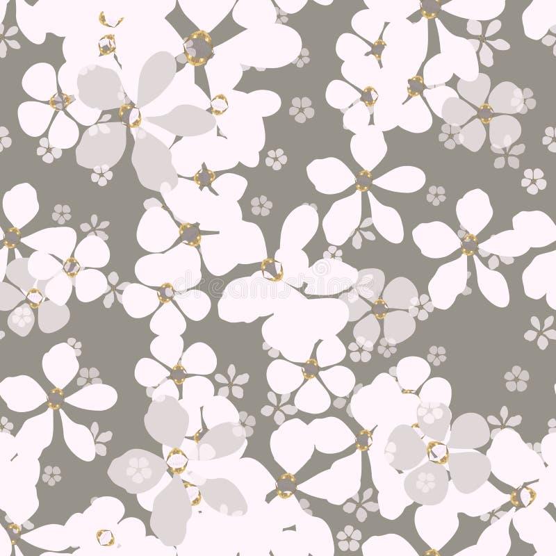 Grandi e piccoli fiori bianchi e grigi con il centro dell'oro su fondo cinereo illustrazione di stock