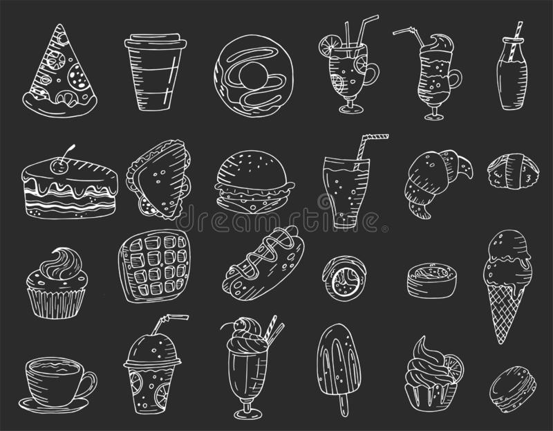 Grandi elementi stabiliti con alimento, i dolci e le bevande disegnati a mano su un fondo della lavagna illustrazione vettoriale