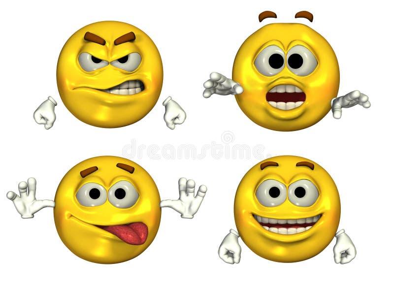 Grandi Emoticons 3D illustrazione vettoriale