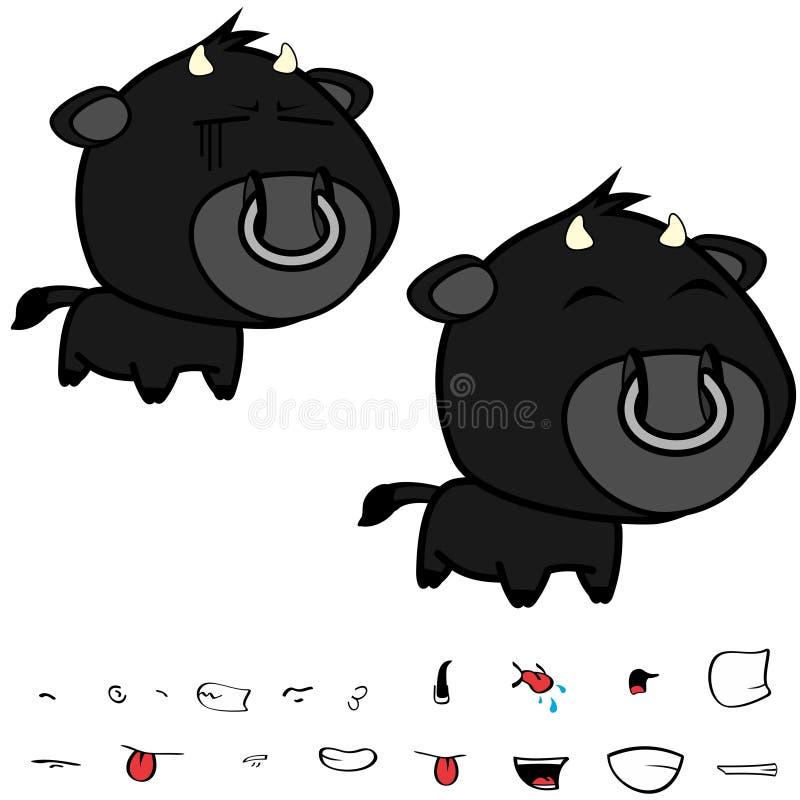Grandi espressioni nere cape divertenti del toro fissate royalty illustrazione gratis