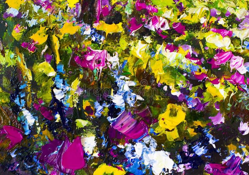 Grandi fiori dell'estratto di struttura Chiuda sul frammento dell'immagine artistica dei fiori della pittura a olio Il mestichino immagine stock libera da diritti