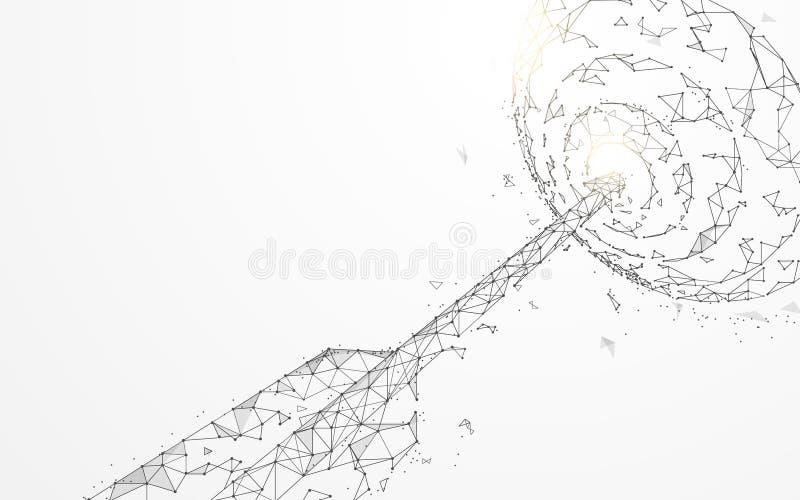 Grandi frecce nelle linee della forma dell'obiettivo, nei triangoli e nella progettazione di stile della particella illustrazione di stock