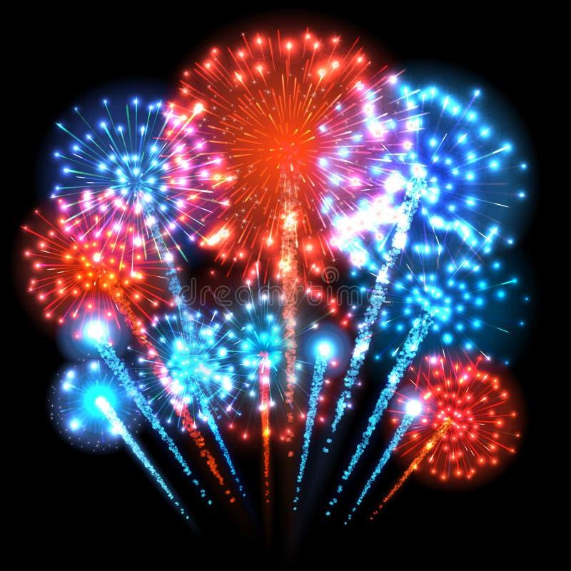 Grandi fuochi d'artificio variopinti Luci rosse blu e Vettore royalty illustrazione gratis