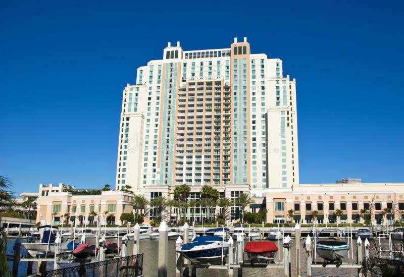 Grandi hotel e porticciolo a Tampa fotografia stock