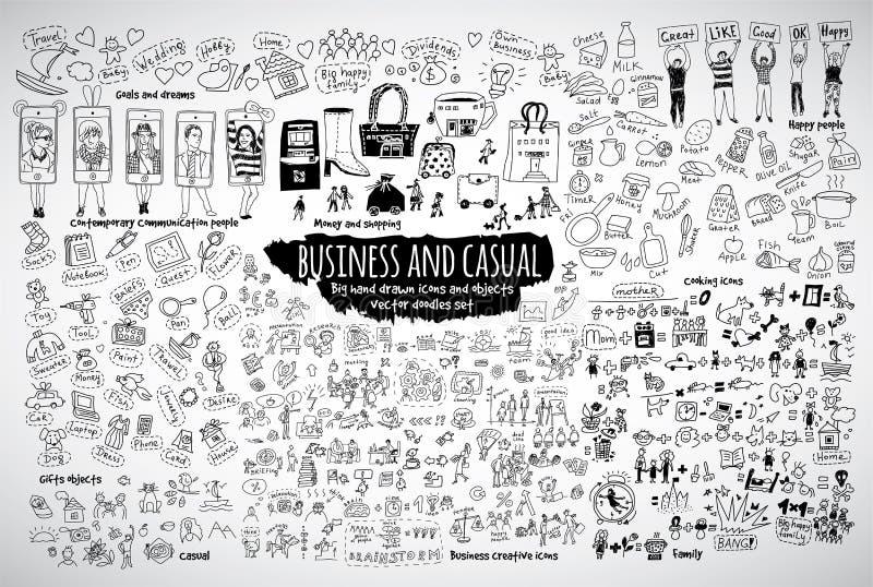 Grandi icone casuali ed oggetti di scarabocchi di affari del pacco royalty illustrazione gratis