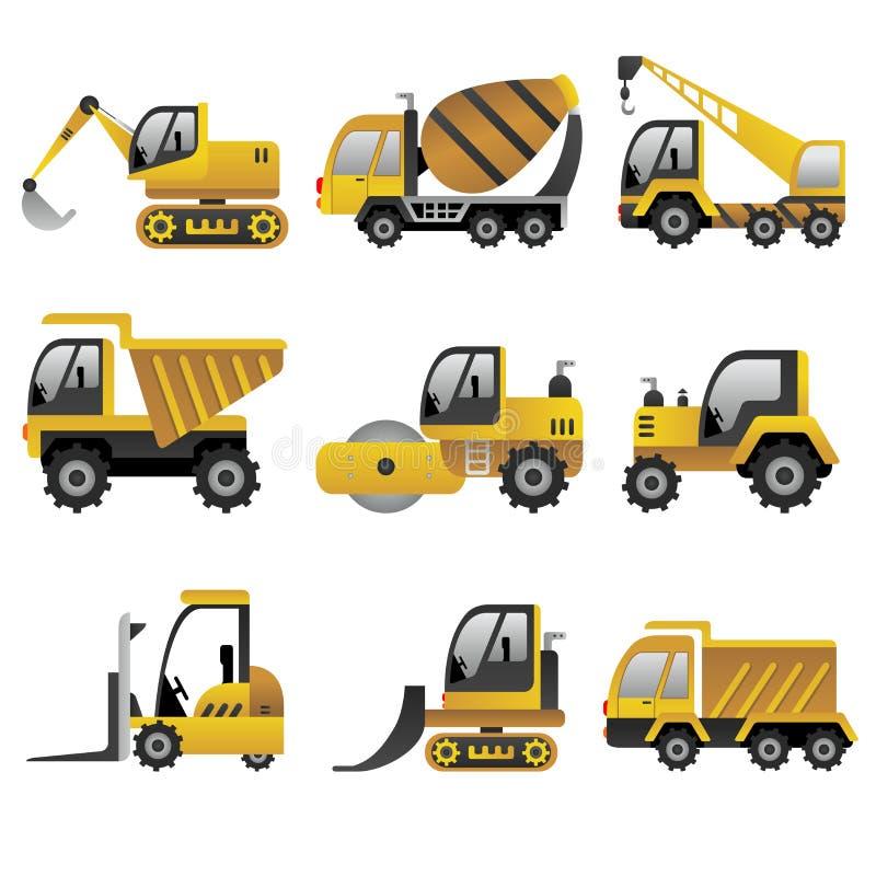 Grandi icone dei veicoli della costruzione illustrazione di stock