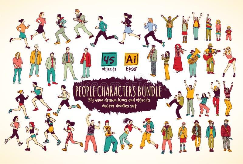 Grandi icone di colore di scarabocchi dei caratteri della gente del pacco illustrazione vettoriale
