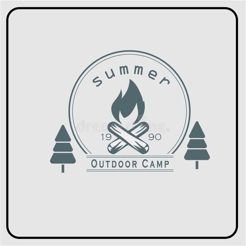 Grandi icone di vettore per il campeggio e scalare illustrazione di stock