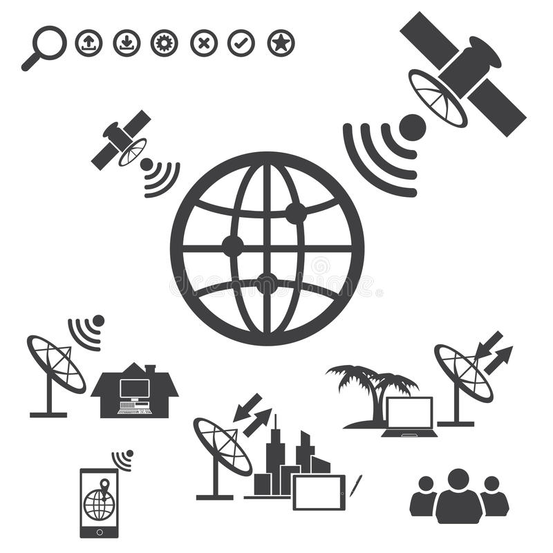 Grandi icone messe, satellite di dati illustrazione di stock