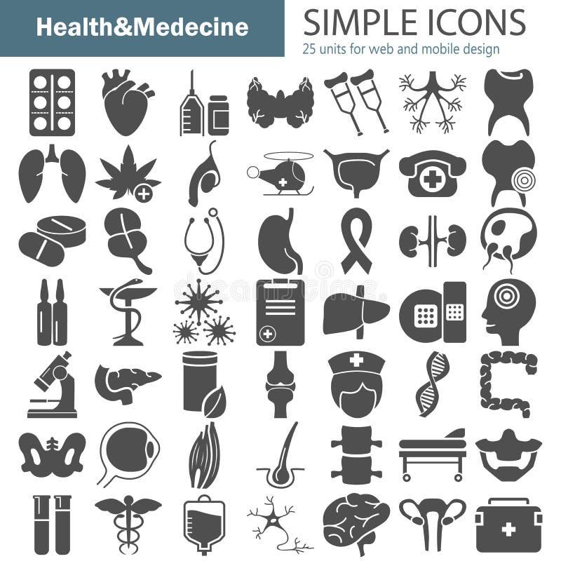 Grandi icone semplici di anatomia e della medicina messe per il web e la progettazione mobile illustrazione di stock