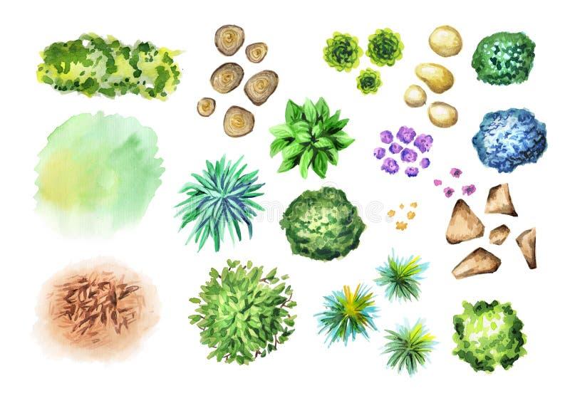 Grandi piante di giardino disegnate a mano messe Elementi di architettura del pæsaggio fotografie stock libere da diritti