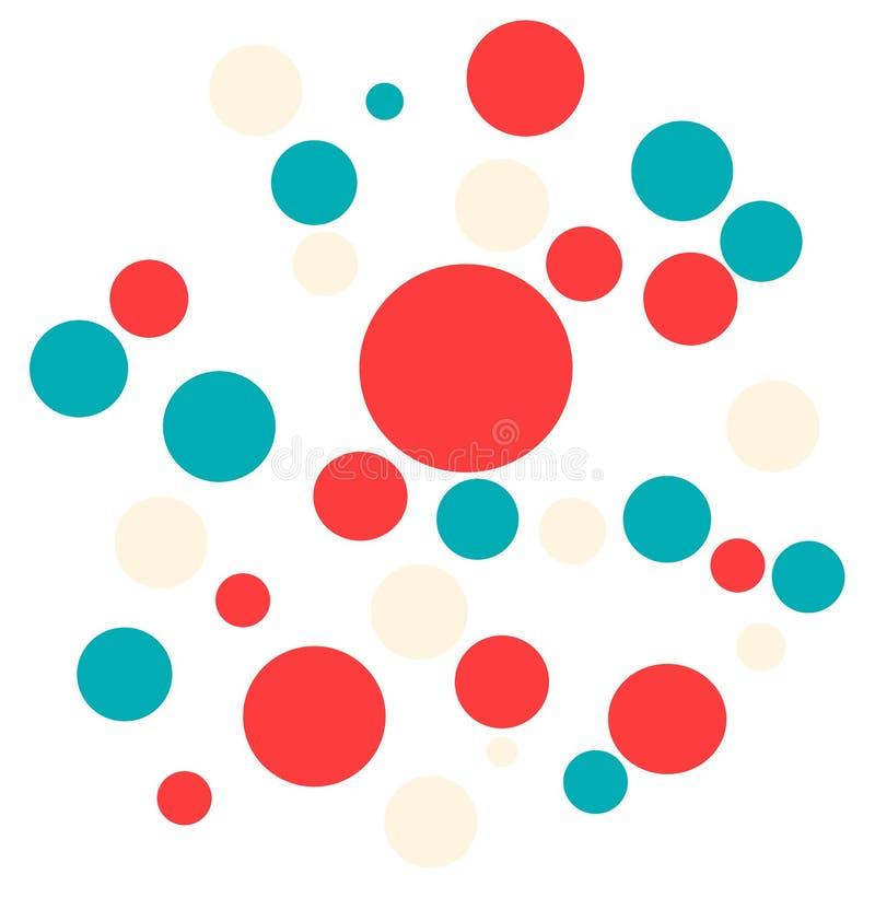 Grandi piccole palle dinamiche colorate luminose su fondo bianco illustrazione di stock