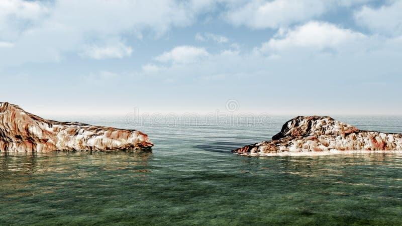 Grandi pietre sulla costa di mare illustrazione di stock