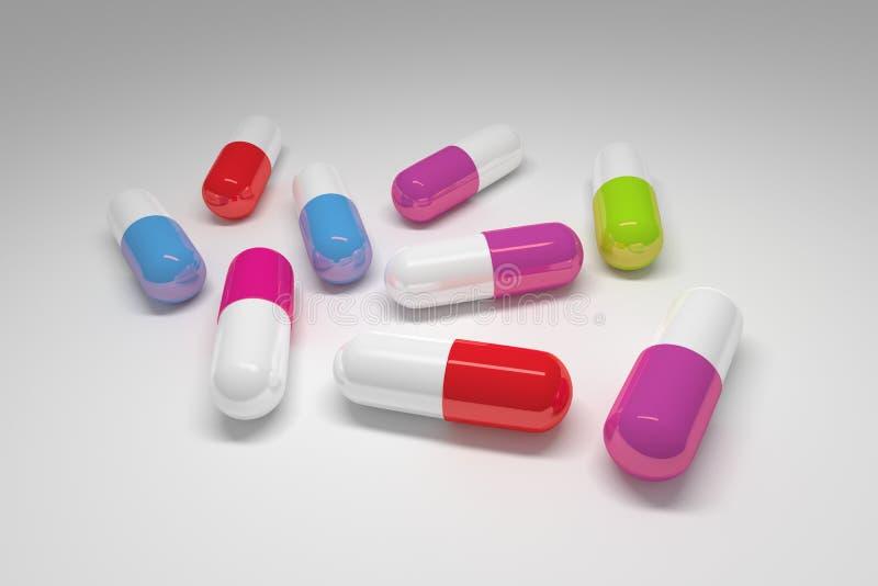 Grandi pillole mediche variopinte illustrazione vettoriale