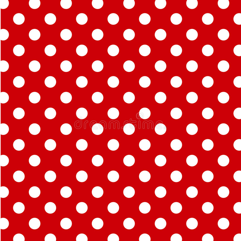 grandi puntini di Polka bianchi di +EPS su priorità bassa rossa royalty illustrazione gratis