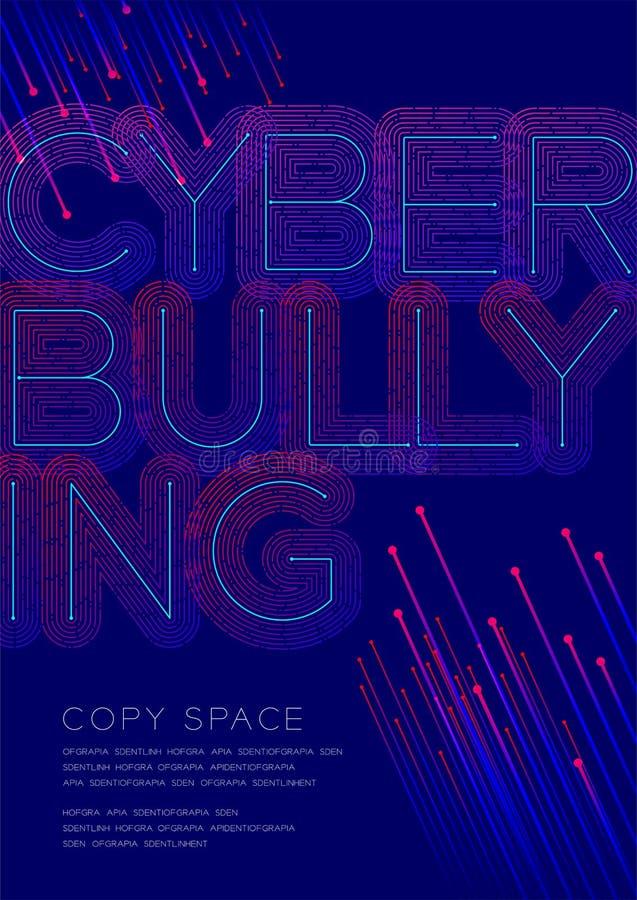 Grandi punto del testo di cyberbullismo e linea sovrapposizione del un poco di strato del modello, insegna del manifesto o illust illustrazione vettoriale