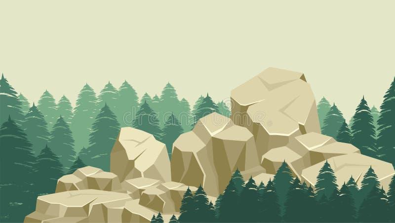Grandi rocce sulla foresta illustrazione di stock