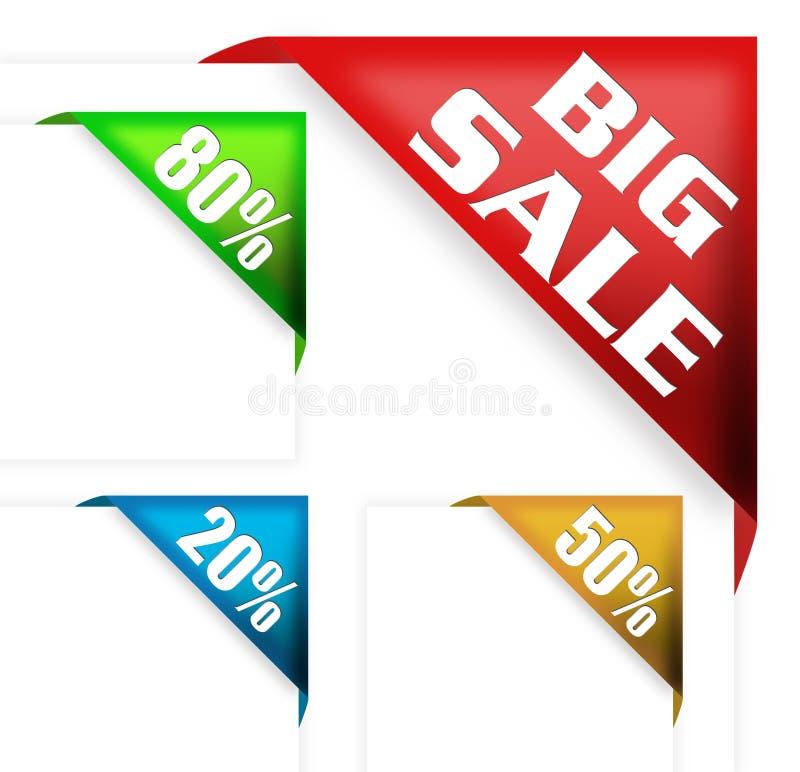 Grandi segno di vendita e nastro di sconto illustrazione di stock