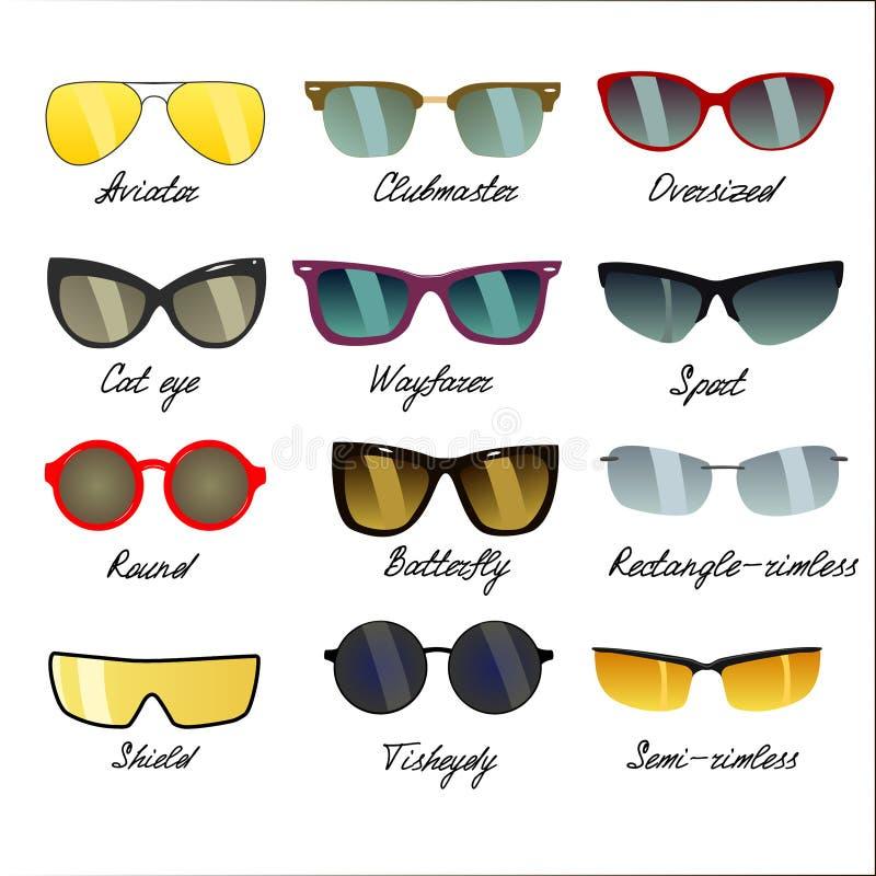 Grandi tipi di vettore dell'insieme di occhiali da sole illustrazione vettoriale
