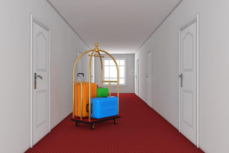 Grandi valigie multicolori del policarbonato in albergo di lusso dorato fotografia stock