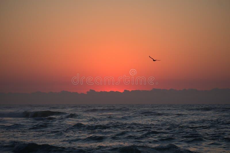 Grandi viste dalla passeggiata della spiaggia di primo mattino: Rinfresco di mente fotografia stock