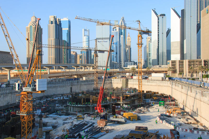 Grandiose construction in Dubai, the United Arab Emirates royalty free stock photography
