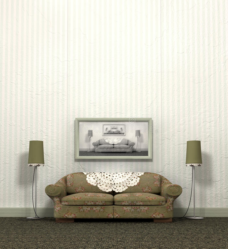 Grandma's Old Sofa. An arty look at a vintage sofa and interior layout of a bygone era royalty free stock photos