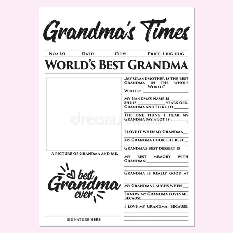 Grandma'stijden - Moederdaggift, geheugen, snel, gemakkelijk, prachtig, wat betreft gift stock illustratie