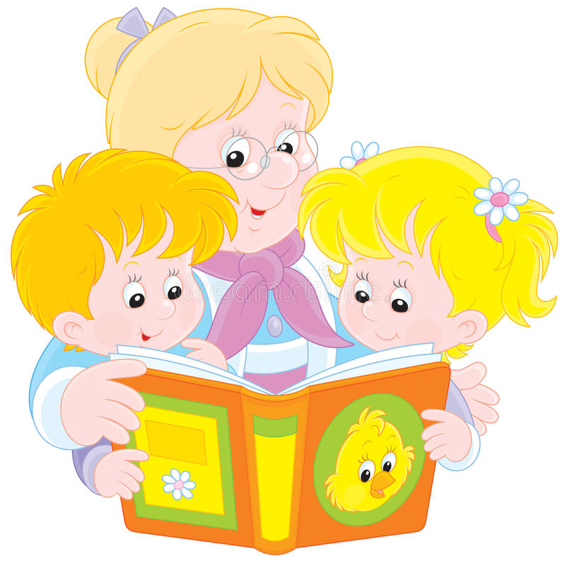 Grandma και εγγόνια που διαβάζονται ελεύθερη απεικόνιση δικαιώματος