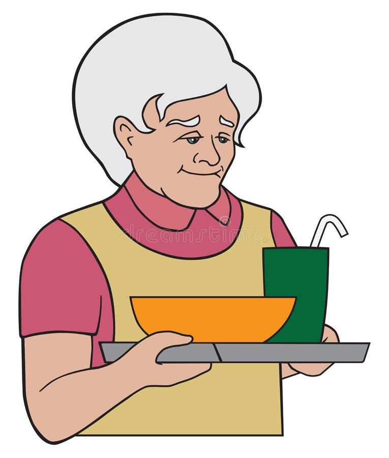 Grandma που εξυπηρετεί ένα γεύμα απεικόνιση αποθεμάτων