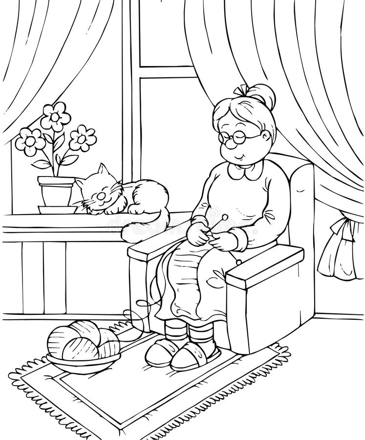 Grandma. Black-and-white illustration (coloring page): granny sleeps in an armchair vector illustration