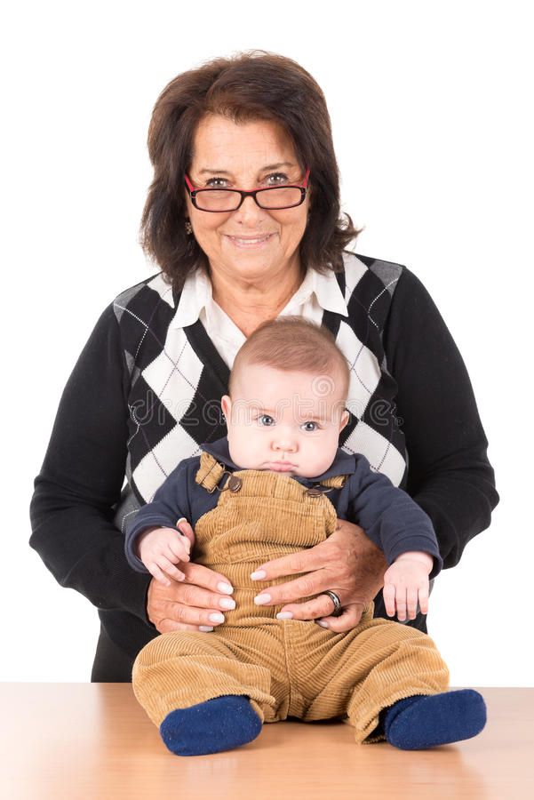 Grandma and baby stock photography