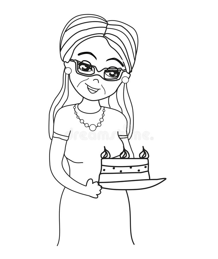 Grandma baked a delicious cake. Vector Illustration royalty free illustration