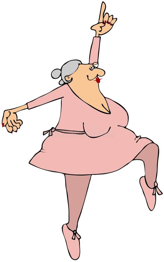 Grandma Ballerina stock illustration. Illustration of lady ...