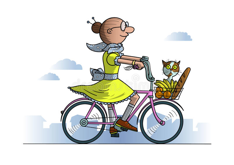 Grandma on bicycle. With food and cat in basket royalty free illustration