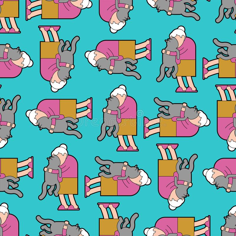 Grandma and cat pattern seamless. grandmother loves pet background . granny amd home animal. vector texture.  stock illustration