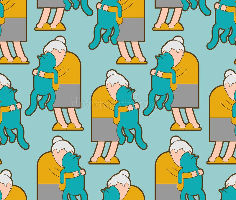 Grandma and cat pattern seamless. grandmother loves pet background . granny amd home animal. vector texture.  royalty free illustration