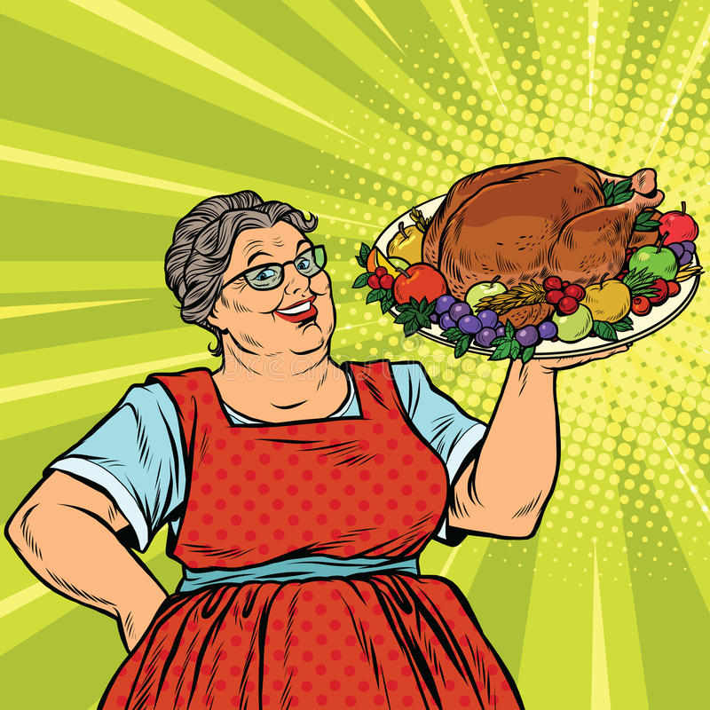 Vector Vintage Pop Art Beach Holiday Illustration Stock: Grandma With A Christmas Or Thanksgiving Roast Turkey