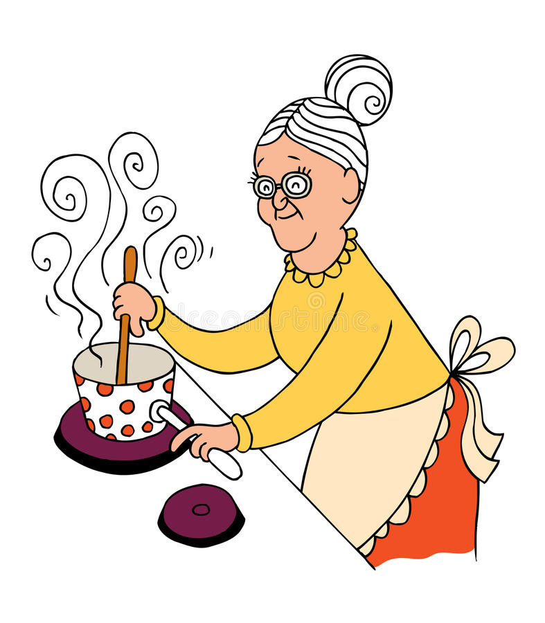 Grandma cooking. Grandma home cooking vector illustration vector illustration