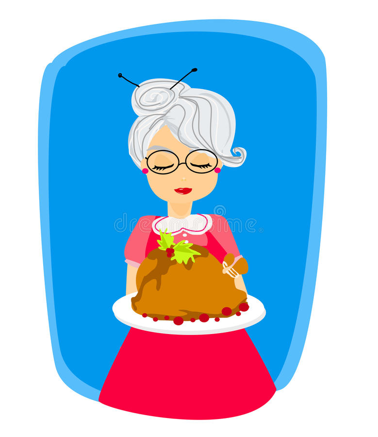 Grandma With A Delicious Roasted And Big Turkey Stock Image
