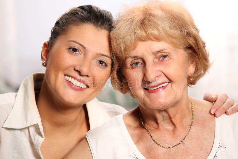 Grandma and grandaughter stock photo