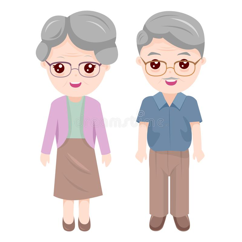 Grandma and Grandpa. Grandpa and Grandma are cute lovers. Like to dress in comfortable clothes royalty free illustration