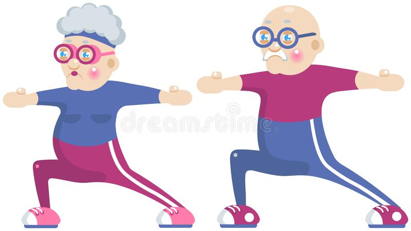 Grandma and grandpa doing sport stock illustration