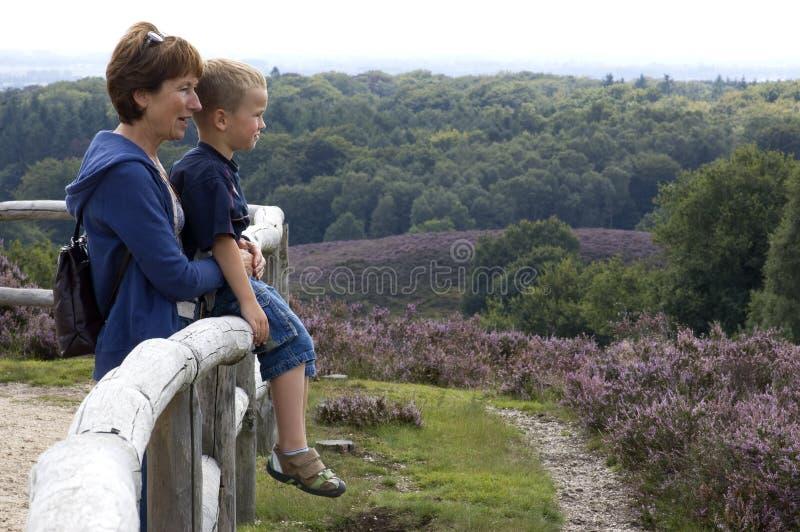 Grandma and grandson stock images