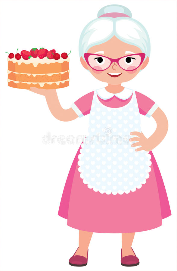Grandma housewife in full length holds a baked beautiful cake. Cartoon vector illustration stock illustration