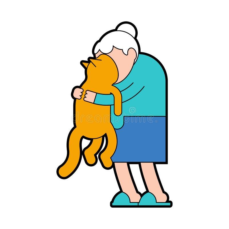 Grandma hugs cat. grandmother loves pet. granny amd home animal. vector illustration.  vector illustration